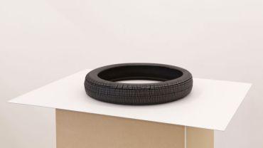 Jethro HARCOURT Tyre, 2017 Blackware ceramic, sump oil, MDF 45 x 45 x 6cm Courtesy the artist