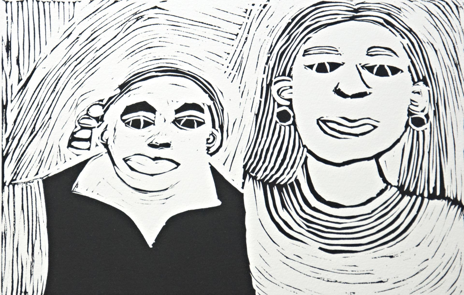 Fiona Taylor, Fiona and Nicole Livingstone, 2017, linocut, edition of 3, 20.5 x 30cm