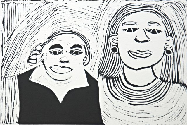 Fiona Taylor, Fiona and Nicole Livingstone, 2017, linocut, edition of 3, 20.5 x 30cm Courtesy the artist and Arts Project Australia, Melbourne