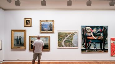 My Geelong—Our Gallery (installation view featuring works by Alexander M Rossi, K Koiama, William Duke and Arthur Streeton), 2016. Photographer: Andrew Curtis.