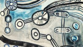 Puna Yanima, Antara (detail), 2018, acrylic and ink on linen, 200cm x 200cm. Image courtesy of the artist and Mimili Maku Arts.
