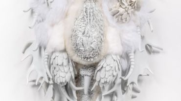 Juz Kitson, It's All Embracing Boundless-ness, no II, 2015-16. Southern Ice porcelain, JingdeZhen porcelain, merino wool and rabbit pelt, 90 x 40 x 50cm, Shepparton Art Museum. © and courtesy the artist and Jan Murphy Gallery, Brisbane. Photo: docQument Photography.