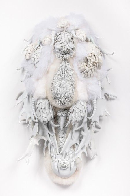 Juz Kitson, It's All Embracing Boundless-ness, no II, 2015-16. Southern Ice porcelain, JingdeZhen porcelain, merino wool and rabbit pelt, 90 x 40 x 50cm, Shepparton Art Museum. © and courtesy the artist and Jan Murphy Gallery, Brisbane. Photo: docQument Photography.