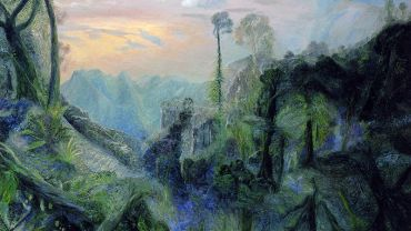 William ROBINSON (1936–) THE SEA WITH MORNING SUN FROM SPRINGBROOK 1996  Oil on linen 137.5 x 183cm  QUT Art Collection  Purchased 2013 through the William Robinson Art Collection Fund and partial donation by Michael Gleeson-White