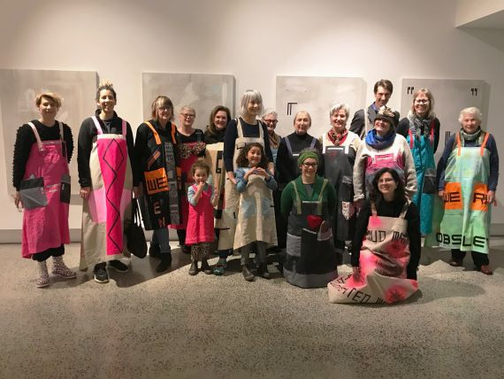 Participants in Sarah's crowEST's 'Material Constructs: a co-production of Utilitarian Abstract Apparel' project gather at the exhibition opening of Sarah's exhibition, 'Material Constructs: The Home Stretch'
