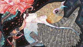 wilder grew her song Del Kathryn Barton, 2011-12 acrylic, gouache, watercolour and ink on polyester canvas Collection of Del Kathryn Barton