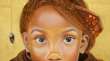 Image caption: Hia De La Tierra, Katerhine Gailer, Daughter of Earth, oil and genuine gold leaf on linen, 61x61