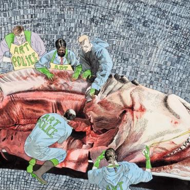 Jonathan McBurnie,  Alt Era Agita 2016, Ink and watercolour on paper.
