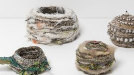 Image: Lisa Waup, Baskets – 2015 – 2017 emu feathers, parrot feathers, peacock feathers, pine needles, silk thread and cotton.