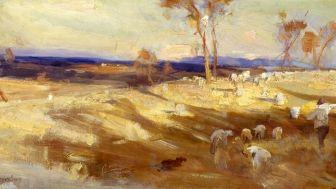 Arthur Streeton, Impression for Golden Summer, 1888, oil on canvas on composition board. Gift of Mr L. Ledger, 1980.