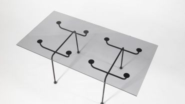 Clement Meadmore, Glass top coffee table 1952, steel, glass, rubber. Harris/Atkins Collection.