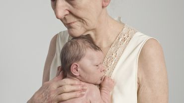 Sam Jinks Woman and Child   2010 silicone, silk, acrylic, rabbit fur, polyurethane foam, timber and nylon Shepparton Art Museum Acquired with funds raised by the public and Greater Shepparton City Council Courtesy the artist and Sullivan+Strumpf