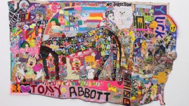 Image: Paul Yore, What a Horrid Fucking Mess, 2016, textile wall hanging; mixed media, 210 x 342 cm (irreg.), purchased with Ararat Rural City Council acquisition allocation, 2016. Collection of Ararat Gallery TAMA.