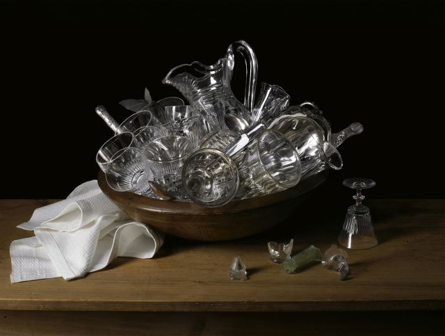 Image: Robyn Stacey, Miss Eliza Wentworth's glassware 2008 from the series The great and the good, chromogenic print, 120.0 x 160.2 cm. Monash Gallery of Art, City of Monash Collection, acquired with the funds raised by Friends of MGA Inc 2009. Courtesy of the artist, Darren Knight Gallery (Sydney) and Jan Manton Gallery (Brisbane).