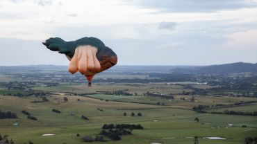 Patricia Piccinini's Skywhale 2013 flying across the Yarra Valley to mark the opening of Patricia Piccinini & Joy Hester: Through love... at the  TarraWarra Museum of Art, 24 November 2018 –11 March 2019. Commissioned for The Centenary of Canberra. Courtesy of the artist and the  Australian Capital Territory Government. Courtesy the artist, Tolarno Galleries, Melbourne and Roslyn Oxley9 Gallery, Sydney. Photo: Rick Liston.