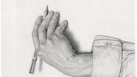 M. C. Escher  Dutch 1898–1972 Study for Drawing hands February 1948 pencil 24.9 x 32.3 cm (sheet) Escher Collection, Gemeentemuseum Den Haag, The Hague, the Netherlands © The M. C. Escher Company, the Netherlands. All rights reserved