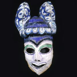 Mask designed and made by Mirka Mora for the Messenger in Medea,  Hoopla! Playbox Theatre, Melbourne, 1979    Gift of Playbox Theatre Company, 1980