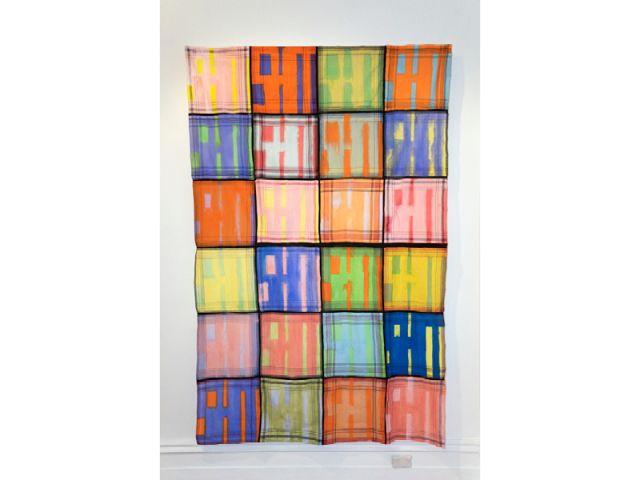 Jordan Marani, Eiderdown II, 2016, acrylic paint, pencil on polyester cotton handkerchiefs, 245cm x 170cm.
