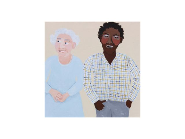 Vincent Namatjira, Queen and me, 40 x 40cm.