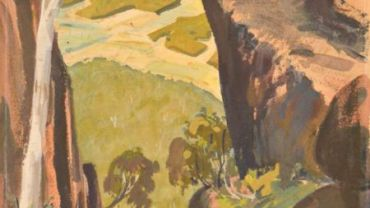 image: Ernest Marcuse, Mt Buffalo – The Gorge, detail,  circa 1942-52, mixed media on artist board.