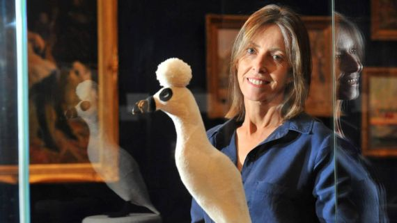 Bendigo Art Gallery director Karen Quinlan with Louise Weaver's Auk, 2010. Picture: NONI HYETT. Via Bendigo Advertiser