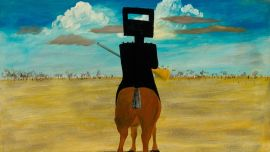 Sidney Nolan Ned Kelly  1946,  from the Ned Kelly series 1946–47, enamel paint on composition board. National Gallery of Australia, Canberra, Gift of Sunday Reed 1977.