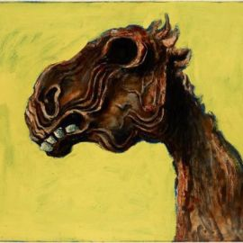 Albert Tucker, Apocalyptic Horse, 1956, oil on hardboard, 62 x 81 cm. Art Gallery of New South Wales, Sydney Purchased 1982. Courtesy of Sotheby's Australia © Albert & Barbara Tucker Foundation.