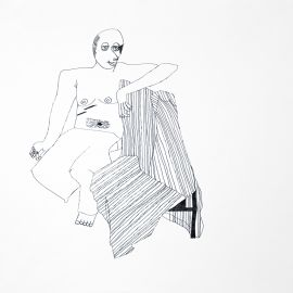 Lisa Reid, Life Drawing-seated, 2002, ink on paper, 50 x 60 cm,
