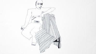 Lisa Reid, Life Drawing-seated, 2002, ink on paper, 50 x 60 cm,