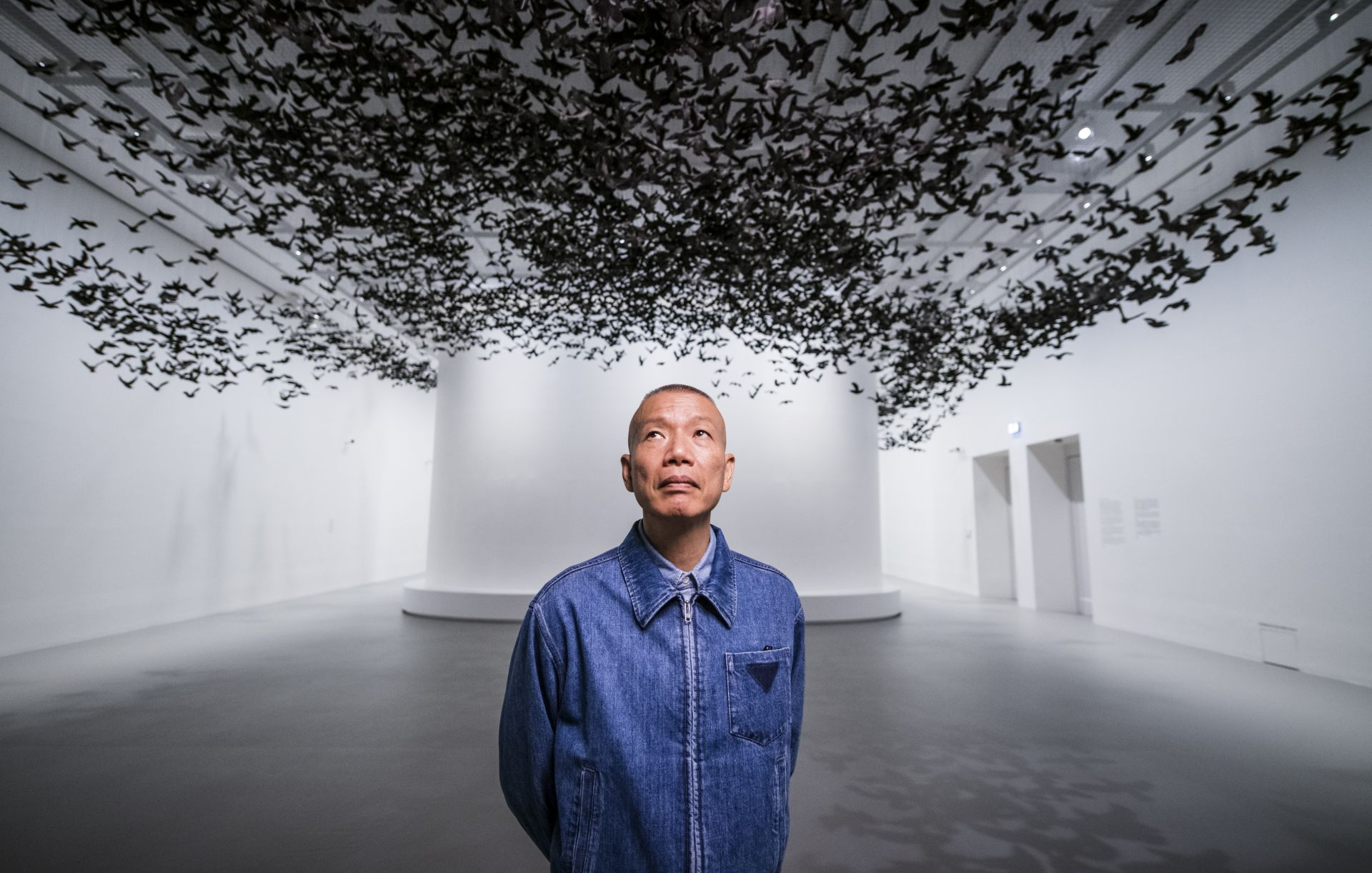 Cai Guo-Qiang, artist, inside 'Terracotta Warriors: Guardians of Immortality | Cai Guo-Qang: The Transient Landscape' at NGV International, 24 May–13 October 2019. Photo credits: Eugene Hyland.