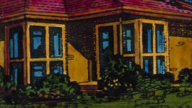 Image Credit: Howard Arkley, Western Suburbs, 1988, Acrylic and photocopy on paper, 22 x 29 cm, Cbus Collection of Australian Art