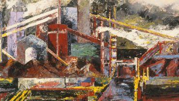 Image credit: Mandy Martin, APM Rain, Steam & Speed, 1990, oil on linen, 100 x 244.2 cm, Cbus Collection of Australian Art