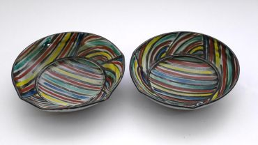 Kevin White 'Two dishes', 1980, ceramic, 4.5 x .17 cm, courtesy the artist.
