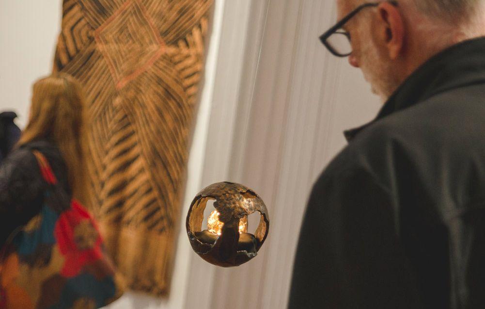 IMAGE: Visitor during the opening of Baluk Arts, Elements, 2019. Baluk Arts > Elements. Courtesy of Linden New Art. Photograph: Theresa Harrison Photography.⠀