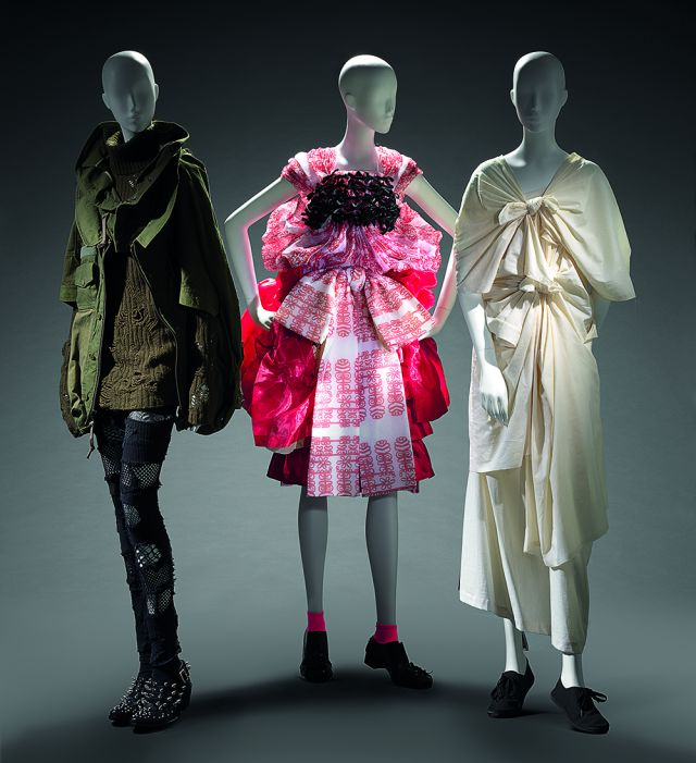 left to right   Junya Watanabe, Comme des Garçons, Japan (fashion house) Japan est. 1992 Junya Watanabe (designer) Japan born 1961  Coat, jumper, leggings and boots 2006 autumn–winter, 2006–07 cotton, wool, nylon, acrylic, leather, metal (embellishments) 69.0 cm (centre back) 42.0 cm (sleeve) 75.0 cm (centre back) 80.0 cm (sleeve) 22.0 cm (waist, flat) 92.0 cm (outer leg) 71.0 cm (inner leg) d-e)  25.5 x 10.0 x 29.0 cm (each) National Gallery of Victoria, Melbourne Promised gift of Takamasa Takahashi   Tao, Comme des Garçons, Japan (fashion house) Japan 2005–2011 Tao Kurihara (designer) Japan born 1961 Dress 2009 autumn–winter 2009 polyester, rayon; cotton, polyester; polyester; wool, mohair, nylon (a) 33.0 cm (centre back) 31.0 cm (waist, flat) (b) 61.0 cm (centre back) 59.0 cm (waist, flat) (c) 62.5 cm (centre back) 32.0 cm (waist, flat) (d) 63.0 cm (centre back) 30.0 cm (waist, flat) e-f) 11.0 x 9.0 x 26.0 cm (each) National Gallery of Victoria, Melbourne  Gift of Takamasa Takahashi through the Australian Government's Cultural Gifts Program, 2017 (2017.156.a-f)  Comme des Garçons, Japan (fashion house) Japan  2005–2011 Rei Kawakubo (designer) Japan born 1942 Dress 2003 Extreme Embellishment collection autumn–winter 2003–2004 cotton, plastic zipper, metal zipper, metal hook, fabric fastener 133.0 cm (centre back) 44.0 cm (waist, flat) National Gallery of Victoria, Melbourne Gift of Takamasa Takahashi through the Australian Government's Cultural Gifts Program, 2015 (2015.124)