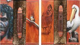 Image: Ray Thomas, Jerail Ceremony of the Gunnai, Acrylic on Jirrah skin and redgum