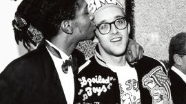 Keith Haring and Jean-Michel Basquiat at the opening reception for Julian Schnabel at the Whitney Museum of American Art, New York, 1987