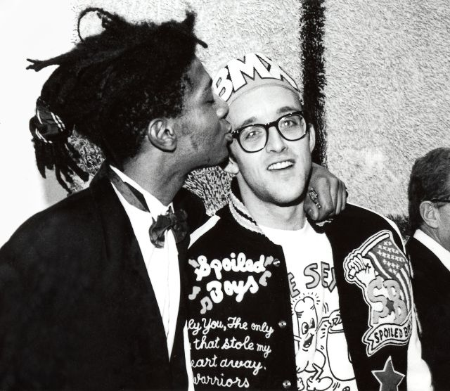 Keith Haring and Jean-Michel Basquiat at the opening reception for Julian Schnabel at the Whitney Museum of American Art, New York, 1987 Photo: © George Hirose