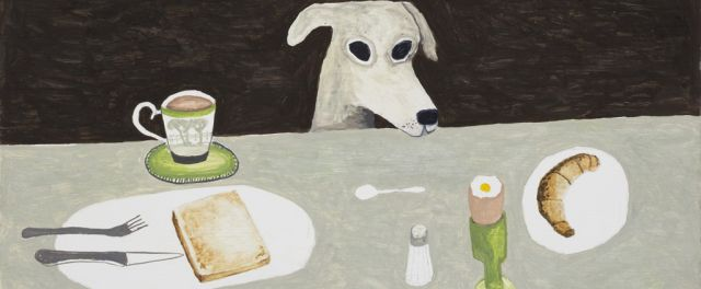 Noel McKenna, Tall dog at table (detail), 2015, oil on board, 41.5 x 44.5 cm. Ten Cubed Collection, Melbourne.